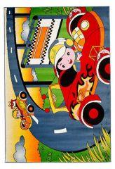 TAPISO KINDER Teppich Kurzflor Spielteppich Kinderteppich Auto Straße Autorennen Muster Grün Bunt Kinderzimmer ÖKOTEX