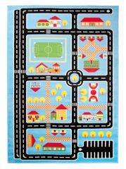 TAPISO KINDER Teppich Kurzflor Kinderteppich Spielteppich Weich Stadt Straße Muster Blau Bunt Designer Kinderzimmer ÖKOTEX
