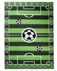 TAPISO KINDER Teppich Kurzflor Kinderteppich Spielteppich Fußballfeld Fußballplatz Muster Grün Schwarz Kinderzimmer ÖKOTEX
