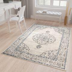 TAPISO TIBET Teppich Klassisch Kurzflor Orientalisch Medaillon Floral Ziegler Muster Creme Hellblau Wohnzimmer ÖKOTEX