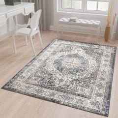 TAPISO TIBET Teppich Klassisch Kurzflor Orientalisch Floral Ziegler Medaillon Vintage Muster Grau Creme Wohnzimmer ÖKOTEX