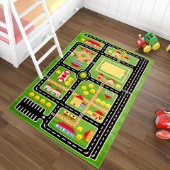 TAPISO KINDER Teppich Kurzflor Kinderteppich Spielteppich Stadt Straße Muster Grün Bunt Straßenteppich Kinderzimmer ÖKOTEX