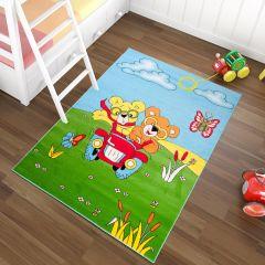 TAPISO KINDER Teppich Kurzflor Spielteppich Spielplatz Bären Auto Wiese Muster Grün Blau Mehrfarbig Kinderzimmer ÖKOTEX