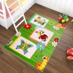 TAPISO KINDER Teppich Kurzflor Kinderteppich Spielteppich Käfer Bienen Schmetterling Muster Grün Bunt Kinderzimmer ÖKOTEX