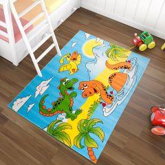 TAPISO KINDER Teppich Kurzflor Kinderteppich Spielteppich Dino Dinosaurier Teich Muster Blau Gelb Bunt Kinderzimmer ÖKOTEX
