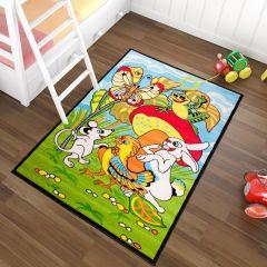TAPISO KINDER Teppich Kurzflor Kinderteppich Spielteppich Tiere Pilz Oster Muster Blau Grün Bunt Kinderzimmer ÖKOTEX