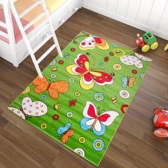 TAPISO KINDER Teppich Kurzflor Kinderteppich Spielteppich Käfer Schmetterling Muster Grün Bunt Kinderzimmer ÖKOTEX