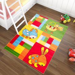 TAPISO KINDER Teppich Kurzflor Kinderteppich Weich Karo Haustiere Tiere Muster Bunt Gelb Designer Kinderzimmer ÖKOTEX