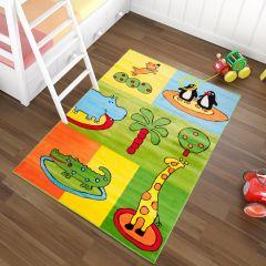 TAPISO KINDER Teppich Kurzflor Kinderteppich Weich Karo Zoo Tiere Muster Bunt Grün Gelb Designer Kinderzimmer ÖKOTEX