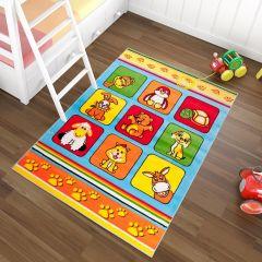 TAPISO KINDER Teppich Kurzflor Kinderteppich Streifen Tiere Karo Muster Bunt Mehrfarbig Kinderzimmer Spielteppich ÖKOTEX