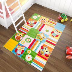 TAPISO KINDER Teppich Kurzflor Weich Kinderteppich Karo Streifen Eulen Muster Bunt Mehrfarbig Designer Kinderzimmer ÖKOTEX