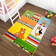 TAPISO KINDER Teppich Kurzflor Kinderteppich Karo Streifen Tiere Muster Bunt Mehrfarbig Kinderzimmer Spielzimmer ÖKOTEX