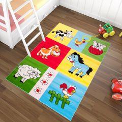 TAPISO KINDER Teppich Kurzflor Spielteppich Kinderteppich Bauernhof Tiere Muster Bunt Blau Grün Rot Gelb Kinderzimmer ÖKOTEX