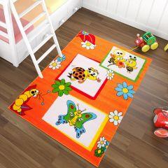 TAPISO KINDER Teppich Kurzflor Spielteppich Käfer Biene Schmetterling Muster Orange Kinderzimmer Spielzimmer ÖKOTEX