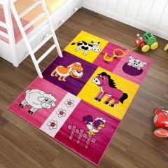 TAPISO KINDER Teppich Kurzflor Spielteppich Kinderteppich Bauernhof Tiere Muster Bunt Lila Rosa Gelb Kinderzimmer ÖKOTEX