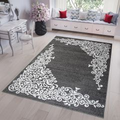 FIRE Area Rug Modern Contemporary Short Pile Floral Grey White