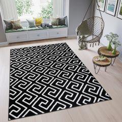 Fire Teppich Kurzflor Modern Geometrisch Griechisch Schwarz Weiß
