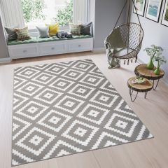 FIRE Area Rug Modern Contemporary Geometric Diamond Grey White