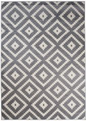 MAROKO Area Rug Modern Short Pile Diamond Geometric Grey Cream