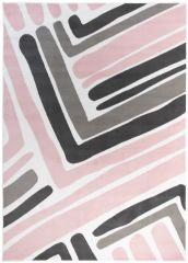 Pimky Teppich Kurzflor Modern Rosa Weiß Grau Streifen Design