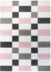 Pimky Teppich Kurzflor Modern Geometrisch Rosa Weiß Schwarz Design