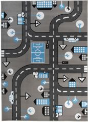 Pinky Teppich Kinderteppich Grau Blau Schwarz Straße Spielteppich