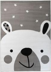 Pinky Teppich Kurzflor Kinderteppich Grau Weiß Schwarz BärTeddy