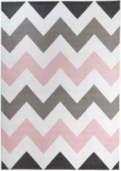 Pimky Teppich Kurzflor Modern Rosa Weiß Grau Modern Zig Zag Design