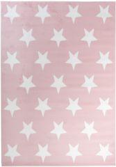 Pinky Teppich Kurzflor Kinderteppich Rosa Weiß Sterne Kinderzimmer