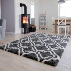 HIMALAYA Shaggy Teppich Grau Marokkanisch Gitter Design