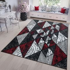 FIRE 2018 Area Rug Modern Short Pile Triangle Geometric Grey Red