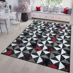 FIRE 2018 Area Rug Modern Short Pile Small Triangle Grey Red