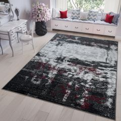 FIRE 2018 Area Rug Short Pile Modern Faded Abstract Black Grey