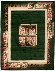 ATLAS Area Rug Traditional Classic Greek Floral Green Beige