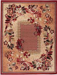 ATLAS Vloerkleed Tapijt Rood Beige Bloemen Modern Design Praktisch