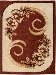 ATLAS Vloerkleed Tapijt Creme Bruin Bloemen Design Modern Duurzaam