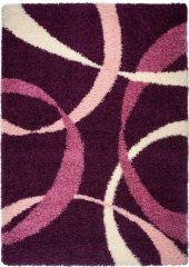 RIO Teppich Shaggy Hochflor Modern Langflor Lila Wellen Design