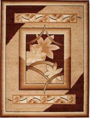 ATLAS Vloerkleed Tapijt Lichtbeige Frame Bloemen Interieur Design
