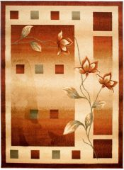 DORIAN Vloerkleed Tapijt Bruin Bloemenprint Modern Abstract Duurzaam