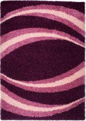 RIO Hochflor Shaggy Teppich Modern Violett Langflor Streifen