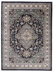 COLORADO Teppich Klassisch Kurzflor Schwarz Blau Floral Design