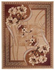 ATLAS Vloerkleed Tapijt Donker Beige Bloemen Abstract Modern Duurzaam