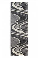 DREAM Teppich Läufer Kurzflor Grau Creme Wellen Design