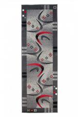 DREAM Läufer Teppich Kurzflor Modern Grau Creme Rot Bumerang