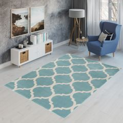 CAN Area Rug Modern Short Pile Round Moroccan Trellis Blue