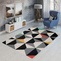 CAN Tappeto Geometrico Moderno Scuro Multicolore Nero