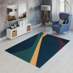CAN Tappeto Geometrico Moderno Astratto Multicolore Scuro