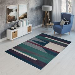 CAN Area Rug Modern Short Pile Geometric Shapes Navy Blue