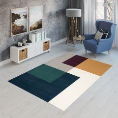CAN Tappeto Geometrico Moderno Rettangolare Multicolore