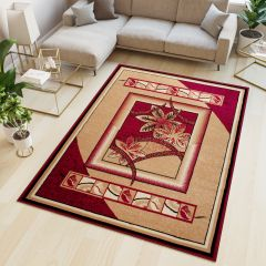 ATLAS Area Rug Modern Contemporary Floral Leaves Beige Red